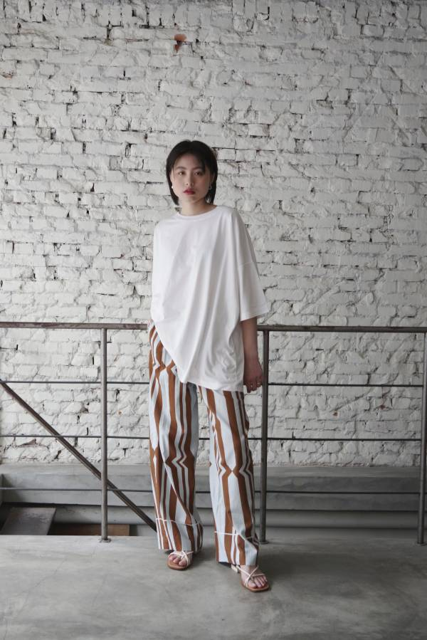 pelleq - cotton silk hand printed trousers