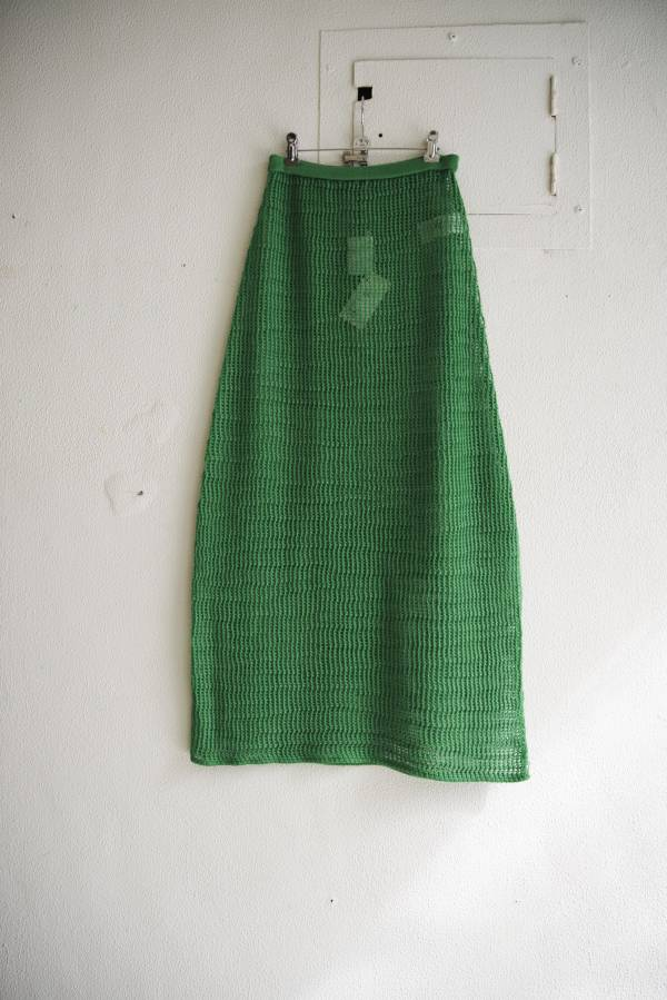 AURALEE - mohair wool mesh knit skirt