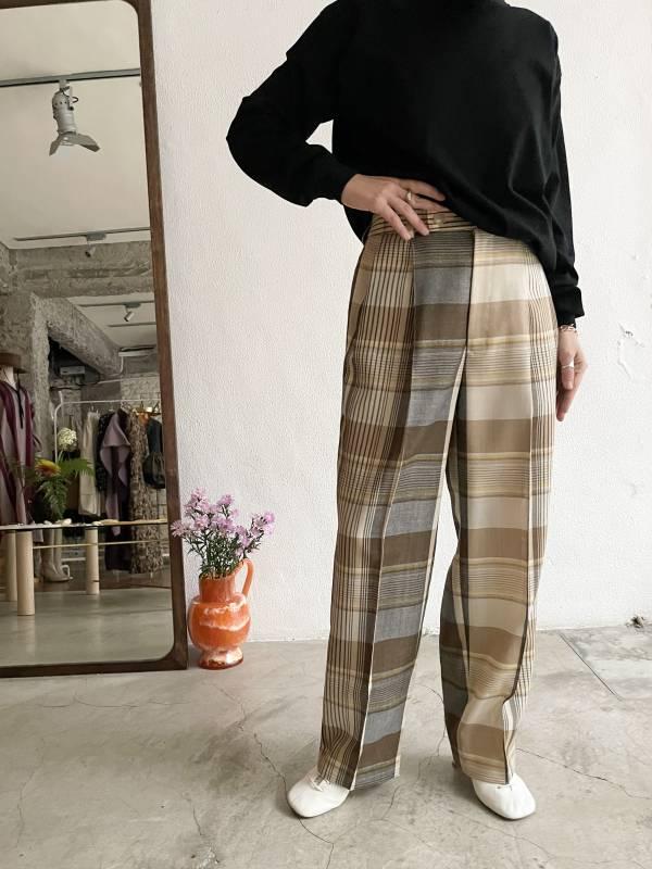 AURALEE - hard twist organic wool mesh check slacks
