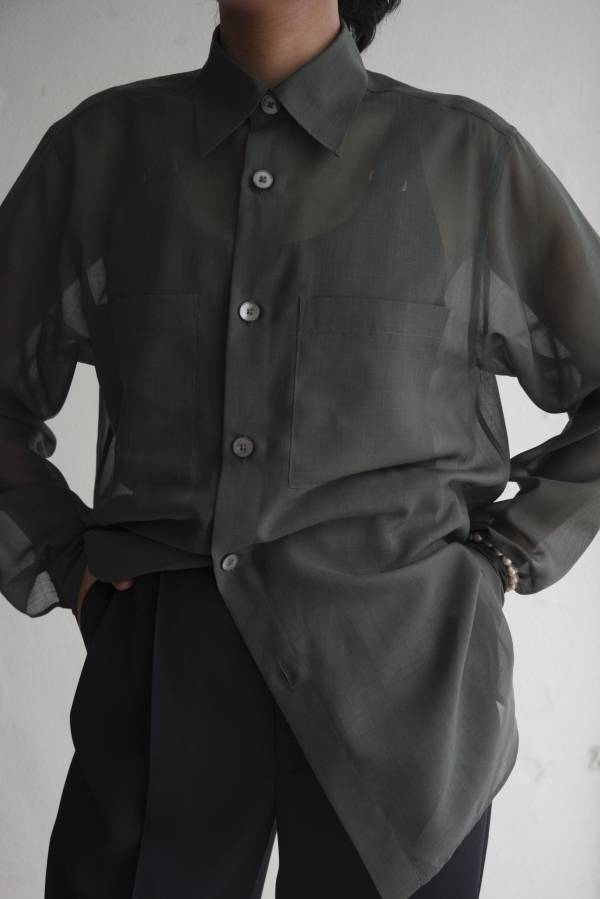 AURALEE - wool recycle polyester sheer cloth shirt
