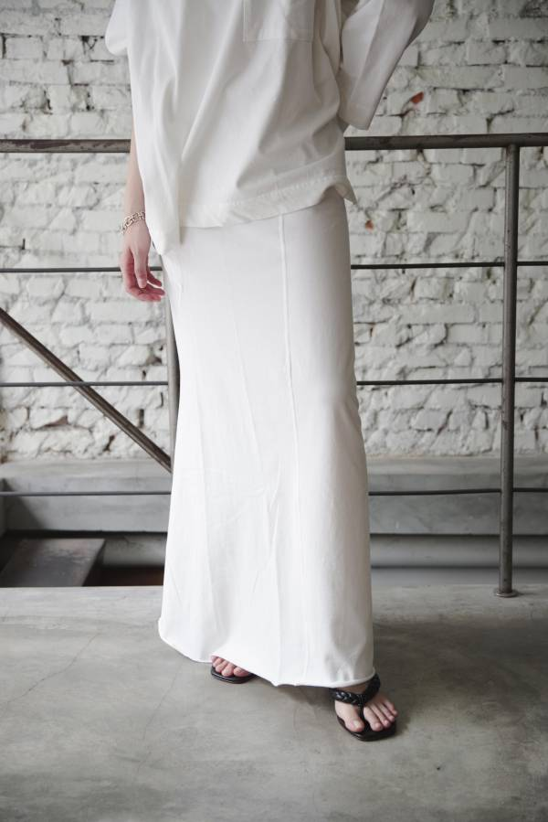 pelleq - twisted cotton patchwork skirt in snow