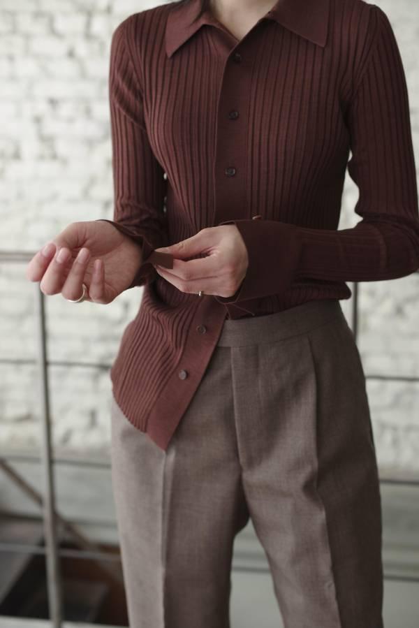AURALEE - wool recycle polyester high gauge rib knit shirts