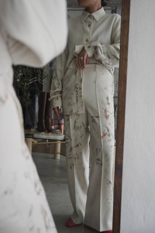 AURALEE - washable wool max serge hand painted slacks
