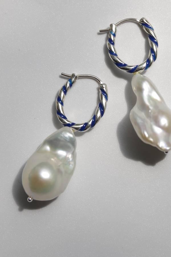 R.ALAGAN - stripe pearl earrings