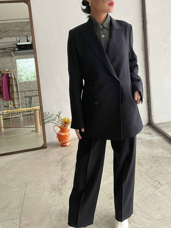 AURALEE - light wool max gabardine double jacket