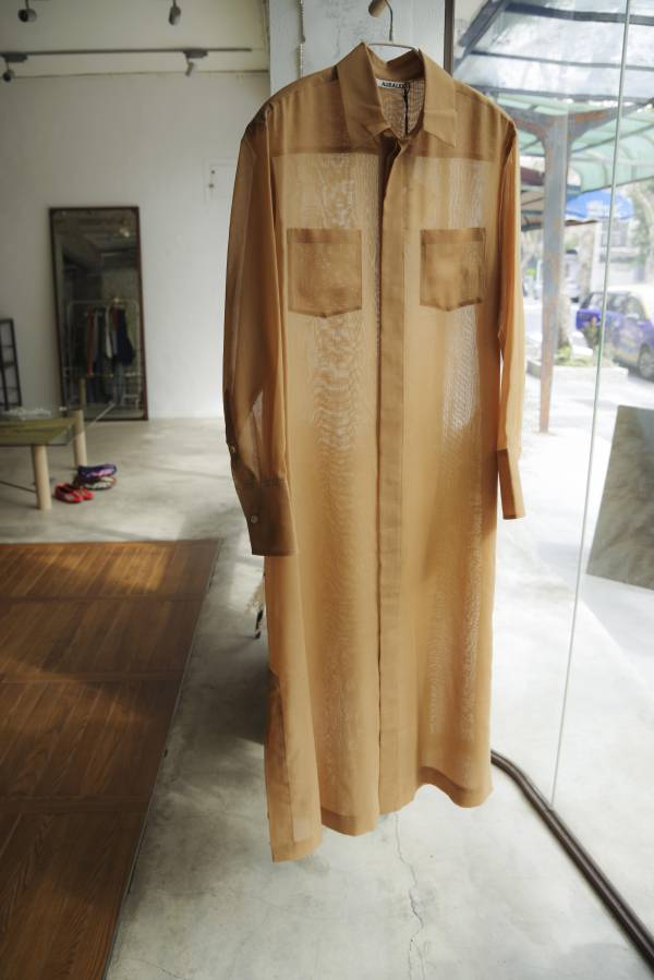 AURALEE - wool polyester sheer cloth shirts one-piece