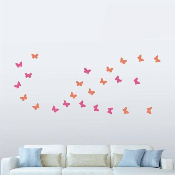 隨變貼-蝴蝶飛呀飛(桃紅+橘) 靜電,無痕,無殘膠,壁貼,居家,辦公,易貼易撕,佈置,DIY