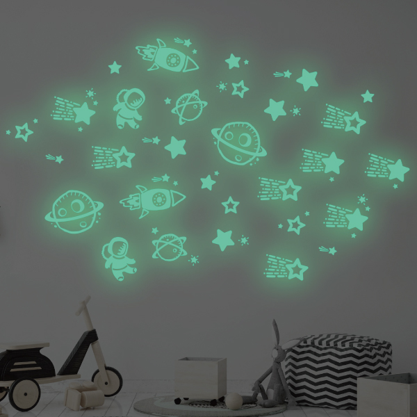 隨變貼-夜光系列 我的外太空 靜電,無痕,無殘膠,壁貼,居家,辦公,易貼易撕,佈置,夜光