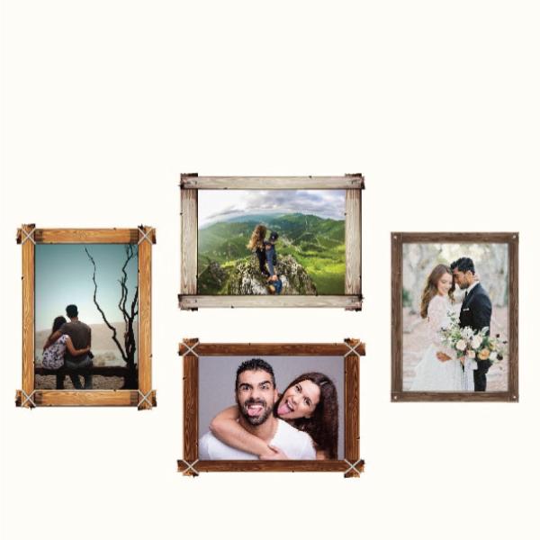 玩美相框貼-木條框(5吋4入裝) 靜電,無痕,無殘膠,壁貼,居家,相框,易貼易撕,佈置,花色,造型