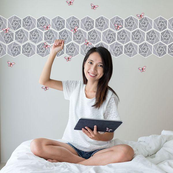 happihood 靜電壁貼-鑲嵌圖案系列:蝶戀花 (灰 ) 靜電,無痕,無膠,不傷牆,設計師款,好撕貼