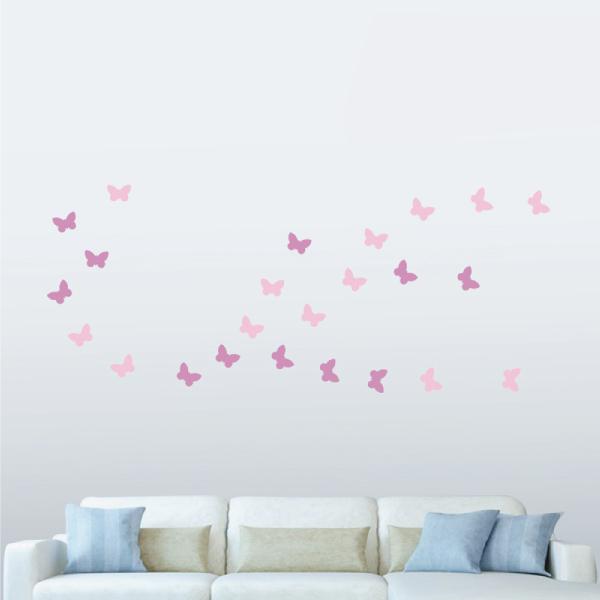 隨變貼-蝴蝶飛呀飛(粉紅+粉紫) 靜電,無痕,無殘膠,壁貼,居家,辦公,易貼易撕,佈置,DIY