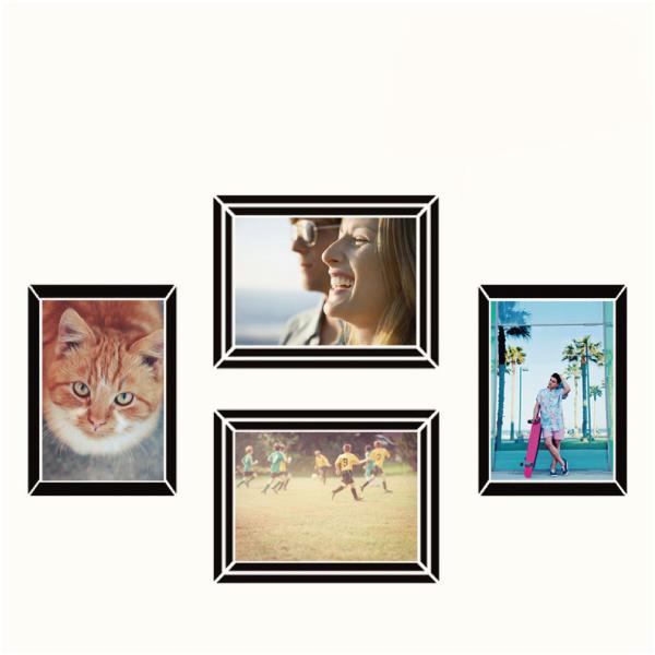 玩美相框貼-時尚黑框(4吋4入裝) 靜電,無痕,無殘膠,壁貼,居家,相框,易貼易撕,佈置,花色,造型