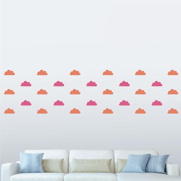 隨變貼-甜甜雲朵(桃紅+橘) 靜電,無痕,無殘膠,壁貼,居家,辦公,易貼易撕,佈置,DIY