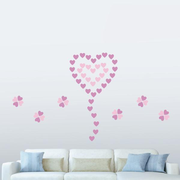 隨變貼-好有愛心型(粉紅+粉紫) 靜電,無痕,無殘膠,壁貼,居家,辦公,易貼易撕,佈置,DIY