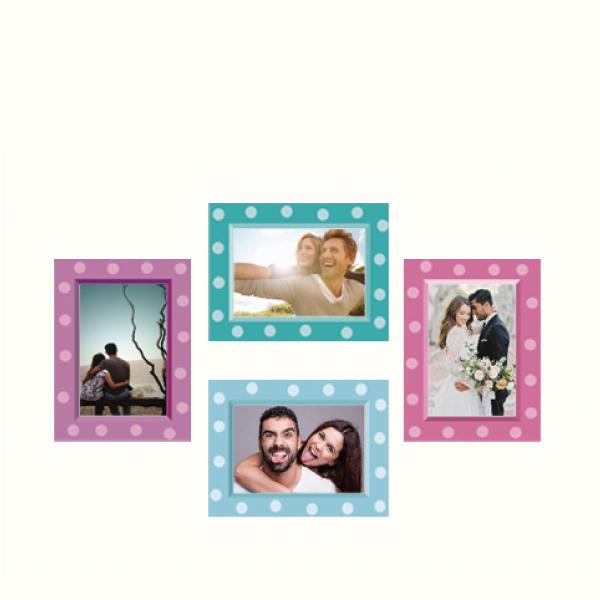 玩美相框貼-點點框(4吋4入裝) 靜電,無痕,無殘膠,壁貼,居家,相框,易貼易撕,佈置,花色,造型