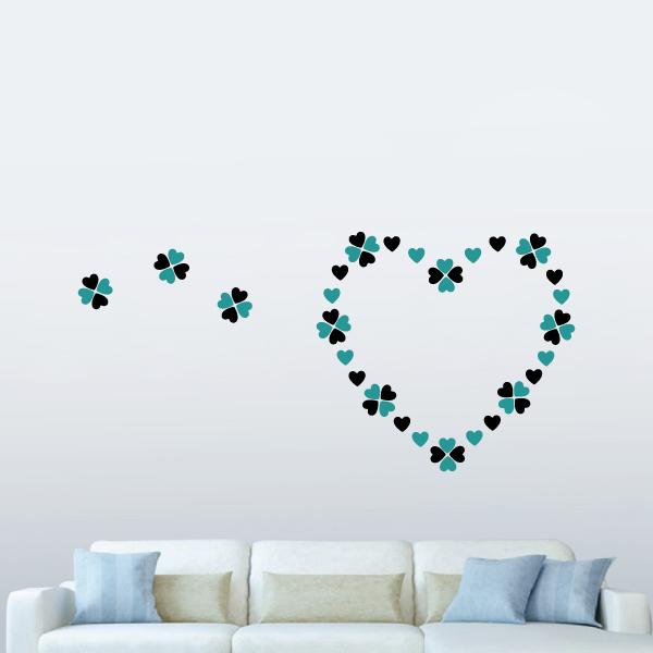 隨變貼-好有愛心型(黑+藍) 靜電,無痕,無殘膠,壁貼,居家,辦公,易貼易撕,佈置,DIY