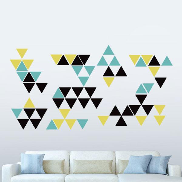 隨變貼-幾何三角形(藍+黃+黑) 靜電,無痕,無殘膠,壁貼,居家,辦公,易貼易撕,佈置,DIY