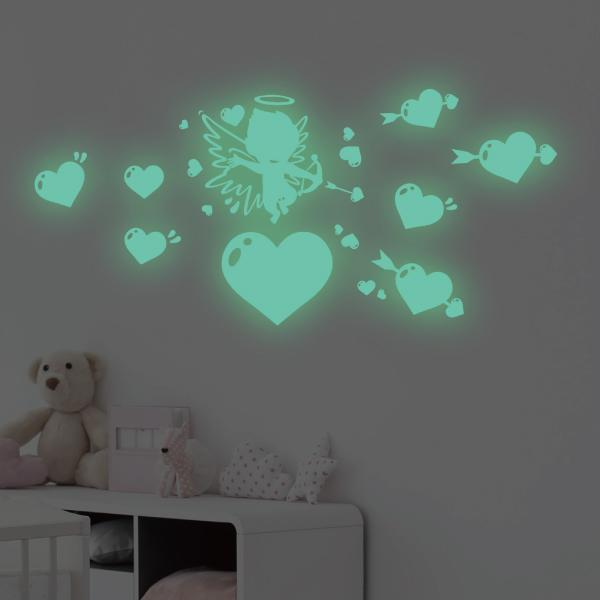 隨變貼-夜光系列 小天使 靜電,無痕,無殘膠,壁貼,居家,辦公,易貼易撕,佈置,夜光