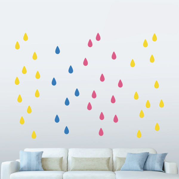 隨變貼-彩色小雨滴(桃紅+黃+藍) 靜電,無痕,無殘膠,壁貼,居家,辦公,易貼易撕,佈置,DIY