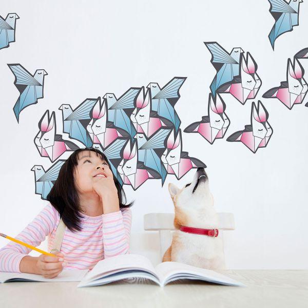 happihood 靜電壁貼-鑲嵌圖案系列:天和地 (兔子+鴿子 )