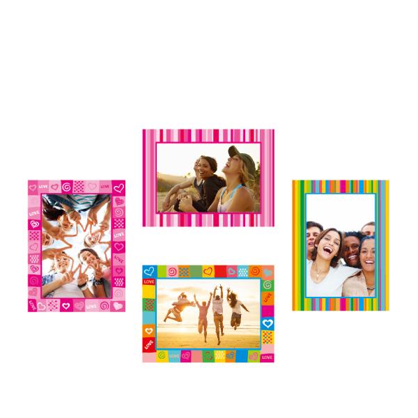 玩美相框貼-繽紛框(5吋4入裝) 靜電,無痕,無殘膠,壁貼,居家,相框,易貼易撕,佈置,花色,造型