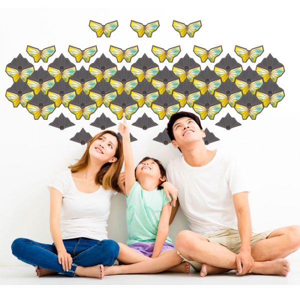 happihood 靜電壁貼-鑲嵌圖案系列:蝠蝶寶鈿 (黃 )