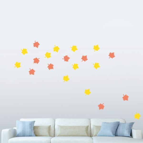 隨變貼-好美楓葉(橘+黃) 靜電,無痕,無殘膠,壁貼,居家,辦公,易貼易撕,佈置,DIY
