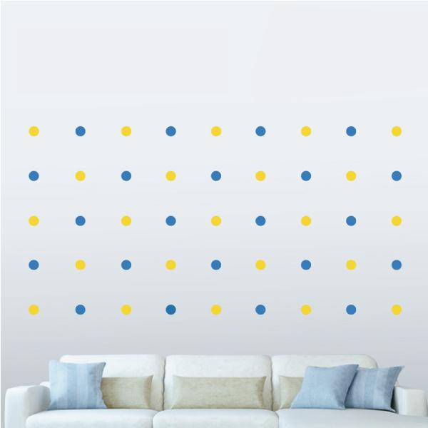 隨變貼-可愛圓點點(藍+黃) 靜電,無痕,無殘膠,壁貼,居家,辦公,易貼易撕,佈置,DIY
