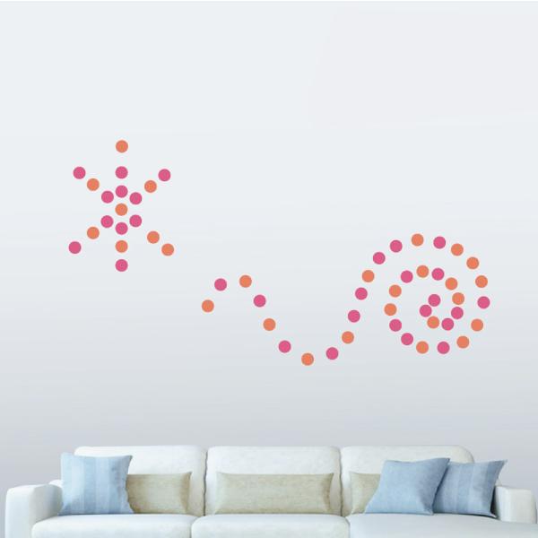 隨變貼-可愛圓點點(桃紅+橘) 靜電,無痕,無殘膠,壁貼,居家,辦公,易貼易撕,佈置,DIY
