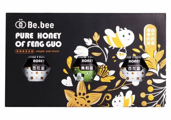 H019-BeBee 百花蜜2瓶/烏臼蜜  禮盒  3瓶裝  130g/瓶  20x11x7 公分 (龍眼蜜:清新的空氣,純淨的水源,種植於南投中寮世外桃源的龍眼樹,由蜜蜂們一點一滴萃取出甜美的金黃,香氣濃醇、圓潤質順,每一口在舌尖交織出甜美的樂章,讓人醉心於簡單的甜蜜。   天然蜂蜜  蜂蜜