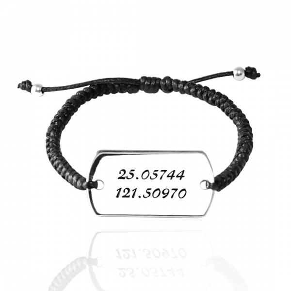 常見訂做「編織軍牌(中.一般款)(刻字款)」純銀牌綁繩手鍊|925銀飾(含單面刻字) 編織手鍊