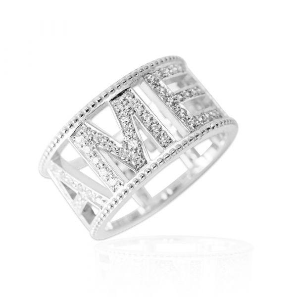 滿鑽英文密碼(正楷)(版寬1公分)純銀戒指|客製化戒指 滿鑽戒指