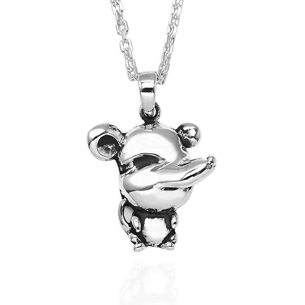 12生肖-鼠-立體造型雕刻純銀項鍊|正面立體後面平面可加購刻字 12生肖銀項鍊推薦