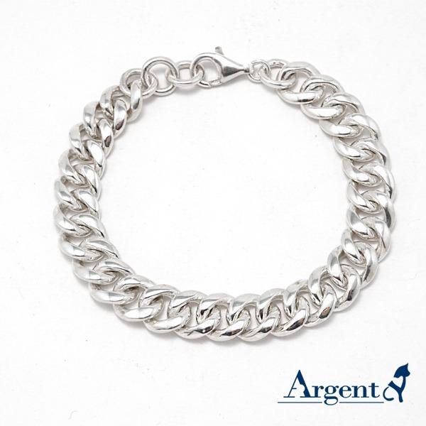 純銀單手鍊-11mm「粗扁鍊(11mm)」復古馬鞭鍊-銀飾純手工925純銀手鍊(粗密11mm) 純銀手鍊
