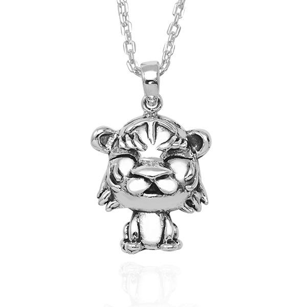 12生肖-虎-造型雕刻純銀項鍊|正面立體後面平面可加購刻字 12生肖銀項鍊推薦