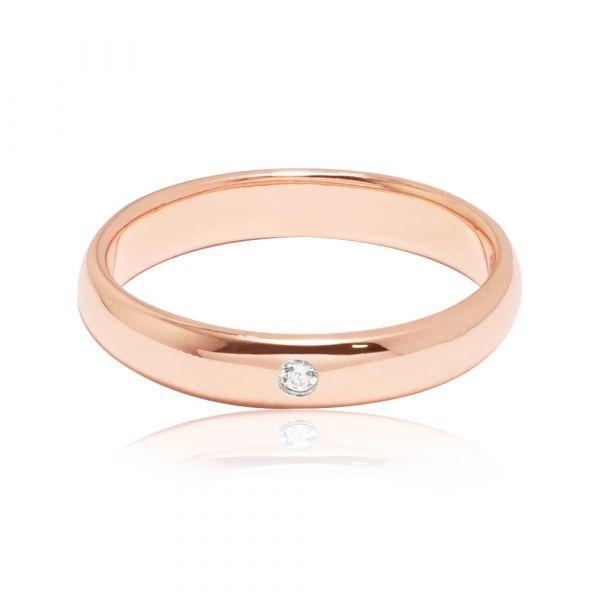 「經典(電鍍款)(3mm/4mm)」(玫瑰金/白K金)外鑲鑽純銀戒|純銀單戒推薦 單鑽戒指