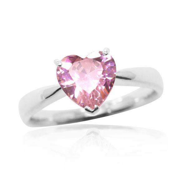 璀璨的愛(白/紫/粉)鑲愛心鑽純銀戒指|925銀飾戒指推薦 求婚戒指