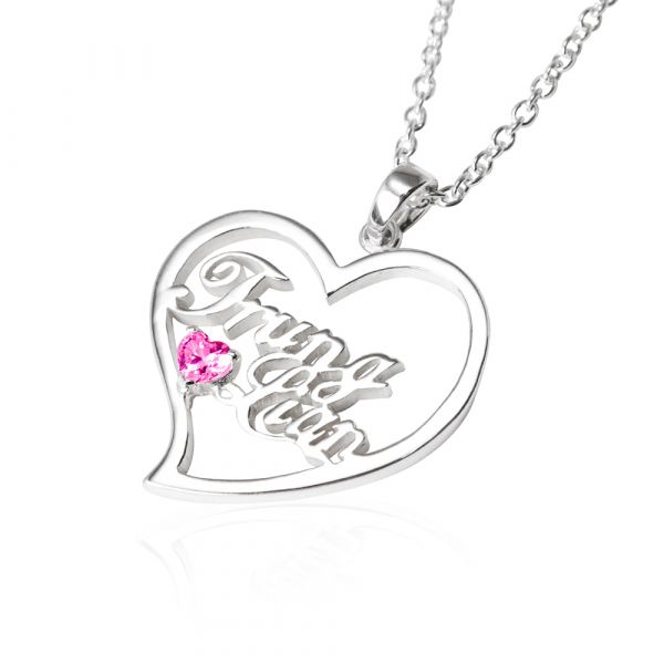 English name with heart frame and round diamond silver  necklace | Customized lettering  necklace  客製化項鍊