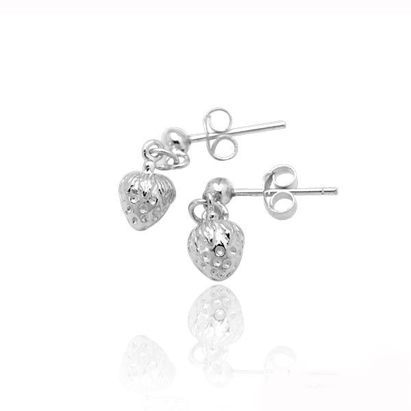 小草莓造型耳針純銀耳環推薦|925銀飾 純銀耳環推薦