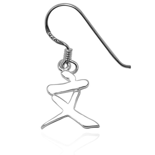 单边中文单字纯银耳环垂吊耳勾银饰|客制化耳环 耳勾银饰