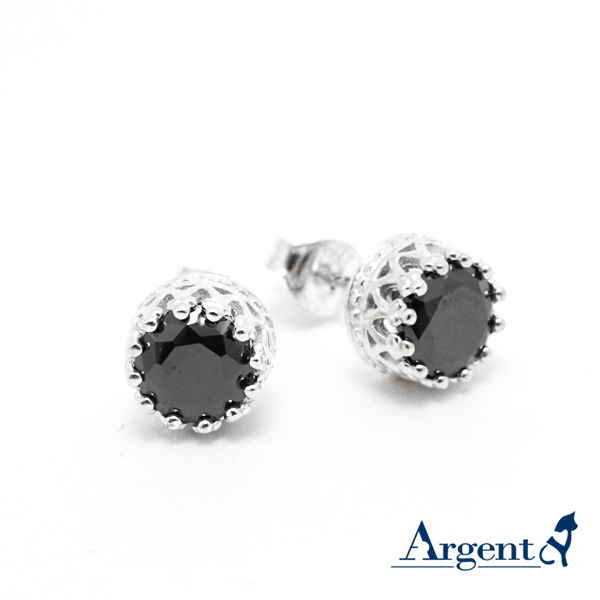 Round diamond crown sterling silver earrings | 925 silver 純銀耳環推薦