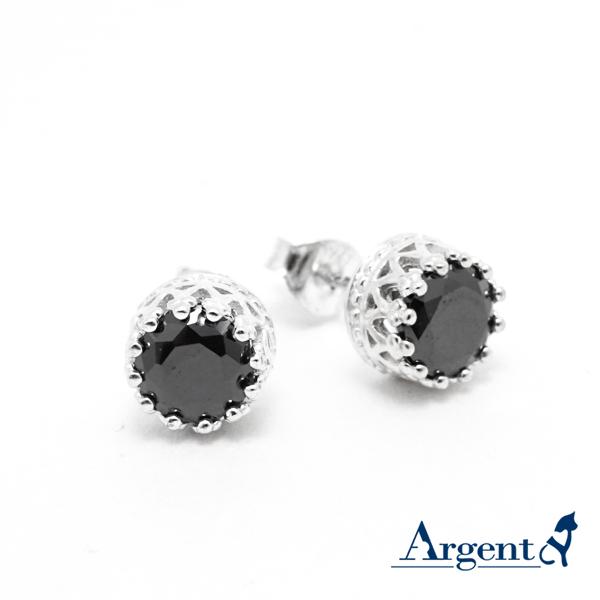 圓鑽皇冠造型純銀耳環推薦|925銀飾 純銀耳環推薦