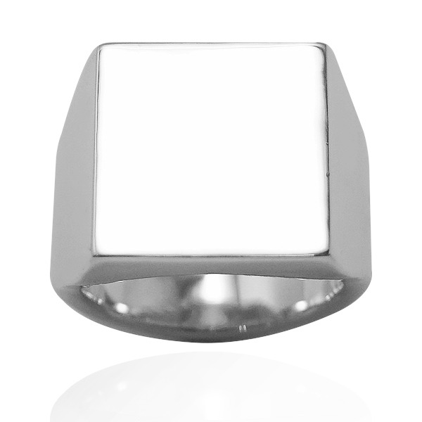 印章戒(方形.寬版)純銀戒指|925銀飾戒指推薦 可加購刻字 印章冠軍戒指