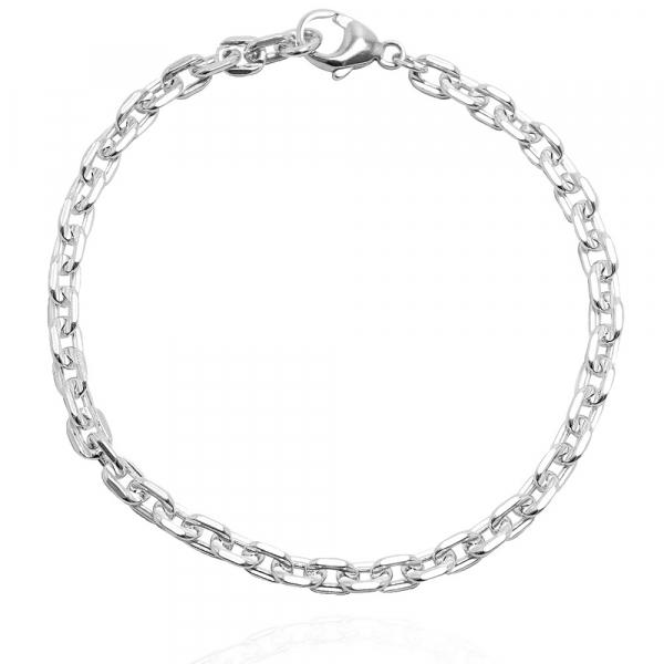 粗款「方格锁链」纯银手链|925银饰 纯银手链