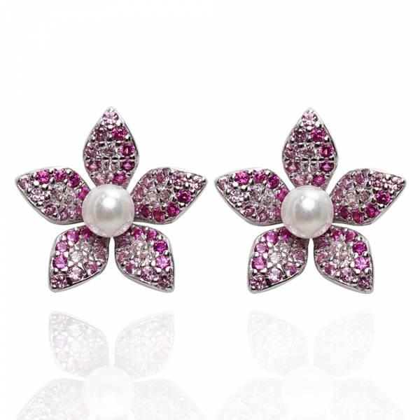 珍珠花瓣(粉/綠/藍/紫/橘色)鑲鑽搭配天然珍珠-造型純銀耳環推薦|925銀飾 珍珠耳環