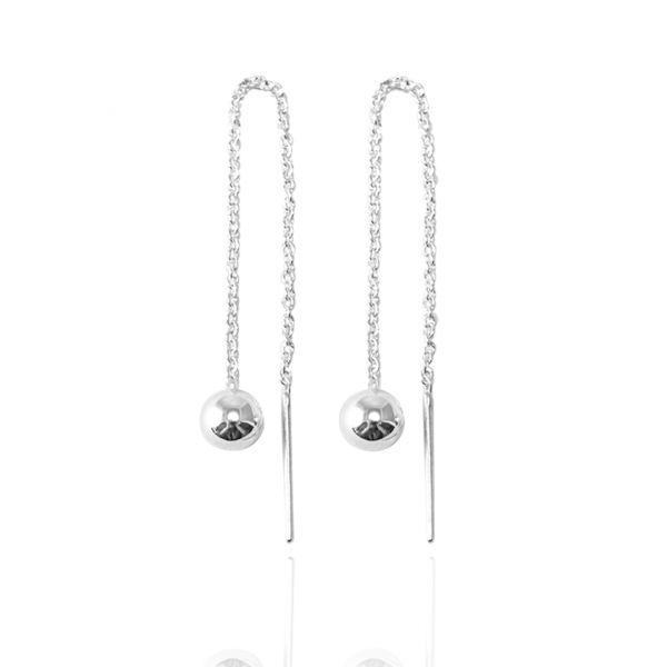 流蘇圓珠(中.5mm)造型純銀耳環推薦|925銀飾 珠珠耳環
