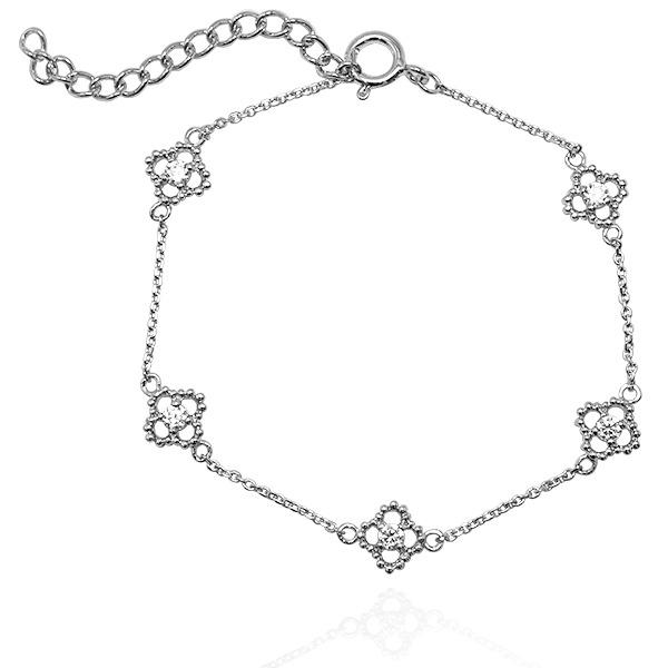 「晶鑽花朵」造型閃亮純銀手鍊|925銀飾 純銀手鍊