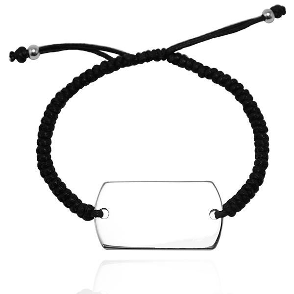 「編織軍牌(中.一般款)」純銀牌綁繩手鍊-可加購刻字|925銀飾 編織手鍊