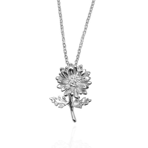 「菊花」立體手工雕花系列純銀項鍊銀飾|銀項鍊推薦 菊花
