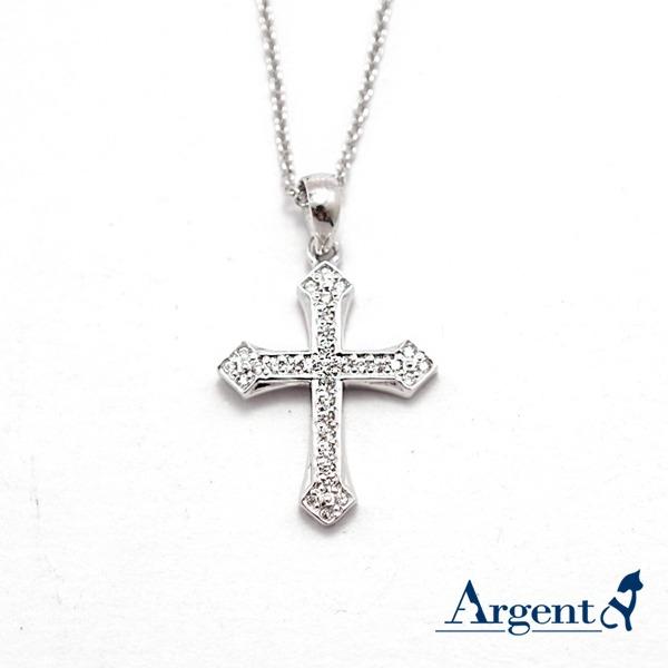 優雅十字晶鑽造型純銀項鍊銀飾|銀項鍊推薦 銀項鍊推薦